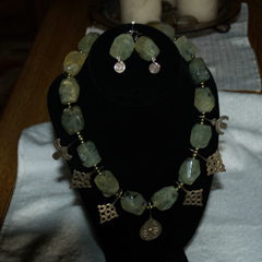 Prehnite necklace strung with unique findings!